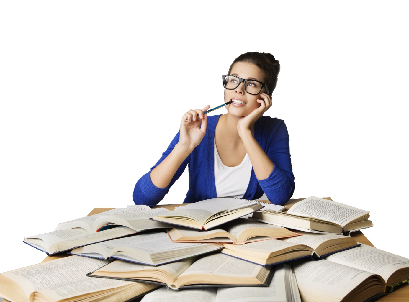 Student Thinking Open Books, Pondering Girl in Glasses Learning Exam, Studying Woman Looking Up over Gray background